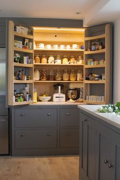 An open LED lit larder cupboard with amble storage and efficient ventilation painted in Farrow & Ball moles breath. The bottom shelf is a cold shelf with built in wall ventilation with the drawers below also used as cold storage for vegetables. Kitchen Redo, Kitchen Pantry, New Kitchen, Kitchen Storage, Kitchen Dining, Kitchen Ideas, Pantry Storage, Pantry Cupboard, Pantry Ideas