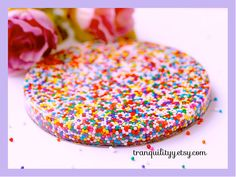 Candy Sprinkle Coaster Real Candy Sprinkle Resin by tranquilityy