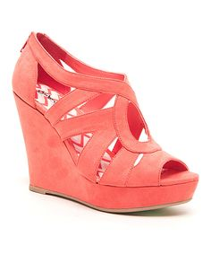 Look at this #zulilyfind! Qupid Coral Circle Lena Wedge Sandal by Qupid #zulilyfinds