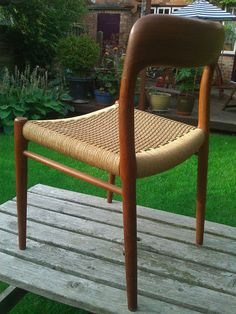 Could go vintage with dining chairs Mid Century Niels Moller Dining Chair model 75 Danish Oak and woven Cord | eBay