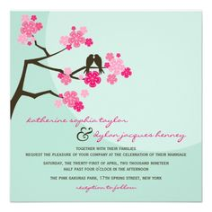 fatfatin Cherry Blossoms Love Birds Wedding Invite  Click on photo to purchase. Check out all current coupon offers and save! http://www.zazzle.com/coupons?rf=238785193994622463&tc=pin