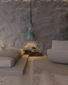 Wabi Sabi Living Trend Doppelbett niedrigen japanischen Stil - Best Home Deco Wabi Sabi, Home Interior Design, Interior Architecture, Interior And Exterior, Interior Shop, Apartment Design, Small Apartments, Small Rooms, House Design
