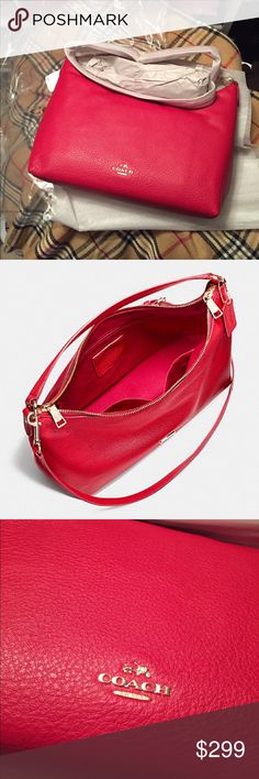 """🆕 NWT Coach Red Pebble Leather Celeste Hobo The PERFECT HOLIDAY BAG!!!                   MAKE ME AN OFFER!                                 Details Pebble leather Inside zip, cell phone and multifunction pockets Zip-top closure, fabric lining Handles with 8 1/2"""" drop Longer strap with 20"""" drop for shoulder or crossbody wear 14 1/4"""" (L) x 5"""" (H) x 5"""" (W) Coach Bags Hobos"""