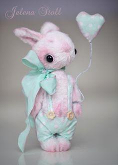 """Jelena Stoll: Зайчик """"Флоки"""" Rabbit Toys, Bunny Toys, Teddy Toys, Teddy Bear, Tiny Teddies, Bear Doll, Cute Toys, Cute Bears, Soft Sculpture"""