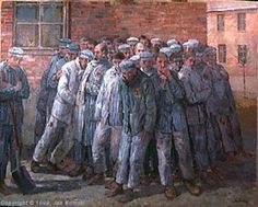 'Warmth' - a painting by Jan Komski  ~  The prisoners used the 15 minutes of free time before the roll call, trying to stay warm.