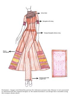 DIY Orange Georgette Anarkali Suit