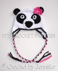 Crochet Pattern for Panda Bear Hat - 5 sizes, baby to adult - Welcome to sell finished items. $4.95, via Etsy.