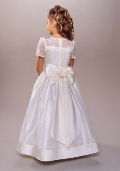 2012 Newest Lovely Short Sleeves Applique A-line Long First Communion Dress (BSFCD-060)