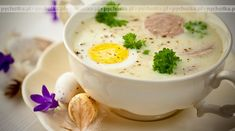 Polish Easter Soup Stock Image - Image of cuisine, polish: 18969473 Soup Stock Image, Polish Soup, Sour Taste, Polish Recipes, Potato Soup, Easter Recipes, Bacon, Stuffed Mushrooms, Food And Drink