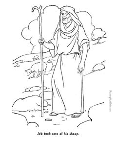Job - Bible coloring page to print 043 Detailed Coloring Pages, Bible Coloring Pages, Coloring Pages To Print, Coloring Pages For Kids, Bible Story Crafts, Bible Stories, Job Biblia, Bible Study Materials, Sunday School Coloring Pages