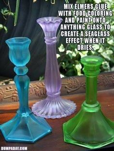 Add food color to Elmer's glue...paint anything to get a sea glass look