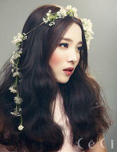 Makeup, hair color, hair, flowers.