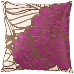 for the guest room...Trina Turk Pillow Embroidered Linen Jungle Bloom Gray/Purple