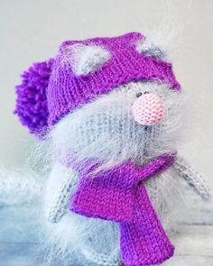 IRIS CAT AMIGURUMI Knit Mohair Cat Kitty Toy - Christmas Gift Toy Cat Handmade Miniature Cat - Little Cat - Mohair Wool Cat - Handmade Gift