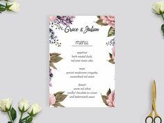 wedding menu card rustic, rustic flower menu card, rustic flower wedding menu #WMC202 by BRIDETALKpaperie on Etsy