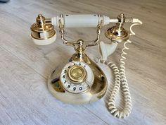 Rare USSR retro phone 1985,Ufa phone,Vintage phone,Dial telephone,Stylish telephone,White Gold phone,Soviet desk telephone,Phone with watch