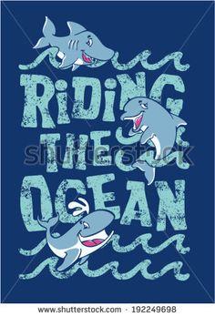 Riding the ocean - artwork for children wear in custom colors
