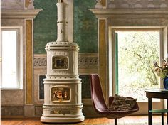 Wood-burning ceramic stove with Thermal Accumulation VIENNESE - Sergio Leoni