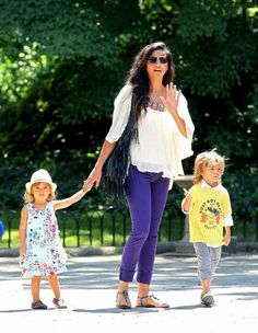 Camila Alves, wife of actor Matthew McConaughey, takes their children Levi and Vida to the Central Park Zoo