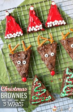 Christmas Brownies - 3 Different Ways (with recipe video) Make 3 different adorable Christmas brownies from the same recipe! How to make Santa hat brownies, Rudolph brownies, and Christmas tree brow Christmas Cheese, Christmas Sprinkles, Christmas Party Food, Christmas Appetizers, Christmas Sweets, Christmas Cooking, Christmas Goodies, Christmas Balls, Christmas Candy
