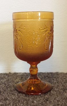Tiara Amber Glass Water or Wine Glass Goblet (3 available) priced at $4.99 each! Available at Gadgets and Gold in Gainesville, FL.