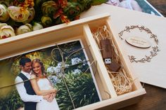 Wooden Photo Box for Photos ( 15 x 21 ) and USB Flash - Personalization Wooden Photo Box, Usb, Parent Gifts, This Or That Questions, Birthday, Holiday, Wedding, Usb Drive, Crates