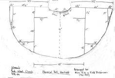 Piecing Diagram of a woman's red wool cloak, DPR-84 at Memorial Hall, Deerfield. Via 18C New England Life.