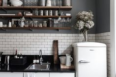 Grey, wood, subway tile, Smeg
