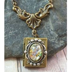 Neo Victorian Book Locket W Multi Coloured Glass Opal #awesome #tiny #miniature #cool #steampunk #clock #earring