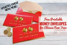 Free Printable! Make these Red Money Envelopes for Chinese New Year. Give them to loved ones to wish a prosperous new year. Updated every new year to reflect the new Chinese Zodiac animal. New Year Printables, Party Printables, Free Printables, Chinese New Year Activities, New Years Activities, Purple Pumpkin, Money Envelopes, Printable Puzzles, Red Envelope