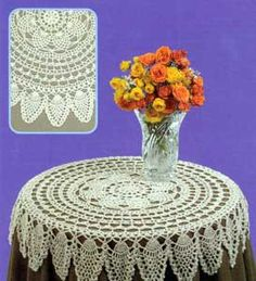 Table Topper LW1501 | Purple Kitty...This crochet tablecloth is a work of art! It's a labor of love,and sure to become a family heirloom!...free pattern..thanks so for sharing!