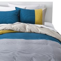 Room Essentials® Stripe Colorblock Comforter Set - Teal Bring white sheets and grey sheets Teal Rooms, Blue Comforter Sets, Bedding Sets Online, Room Essentials, Girls Bedroom, Master Bedroom, Bedrooms, Bedroom Ideas, Bedding Collections