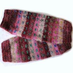 CHUNKY HAND KNITTED LUXURY LEG WARMERS DESIGNER LEGGINGS DEEP PINKS MOHAIR