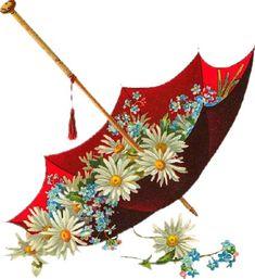 "Photo from album ""цветы винтаж"" on Yandex. Floral Umbrellas, Umbrellas Parasols, Illustration Blume, Cute Illustration, Vintage Flowers, Vintage Floral, Red Umbrella, Vintage Labels, Clipart Vintage"