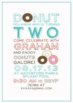 Donut Birthday Party Invitations Invites Rise and Shine its