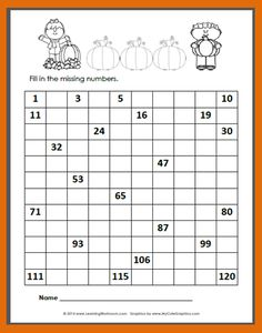 FREE Autumn 120 Number Chart to fill-in