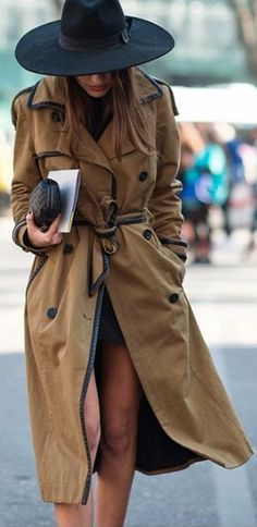 Simple Long Line Brown Trench Coat by A Trendy Life