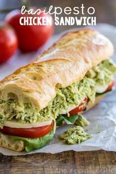 Delicious chicken recipe with basil pesto. How to Make Basil Pesto Chicken Sandwich ~ A delicious basil pesto chicken sandwich that is quick and easy and one of the tastiest sandwiches you will eat! Chicken Pesto Sandwich, Basil Pesto Chicken, Soup And Sandwich, Sandwich Recipes, Chicken Salad, Salad Sandwich, Panini Sandwiches, Onion Chicken, Snacks