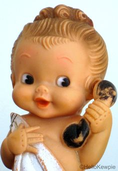 Vintage 1957 Rubber Doll Holding Phone