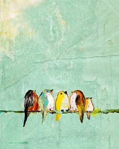 We Are the World, We Are the Children (11x14 baby birds on wire extra large size print). $42.00, via Etsy.