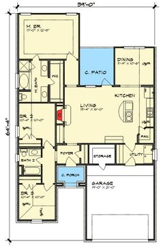 Compact Southern Ranch Home - 36875JG | 1st Floor Master Suite, Butler Walk-in Pantry, Narrow Lot, PDF, Ranch, Southern | Architectural Designs