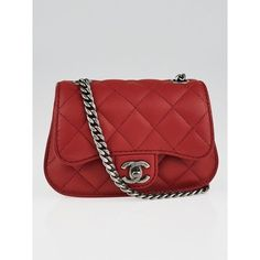 Pre-owned Chanel Red Quilted Lambskin Leather Classic Mini Flap Bag  ( 2 3325e699d0267