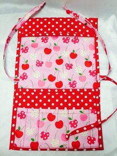 Knitting needle holder crochet case roll pink polka vintage retro cherry red polka organizer fabric handmade gift Birthday double pointed
