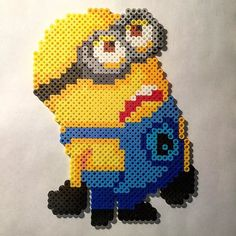 Minion perler beads by rabidperler - Pattern… Perler Bead Designs, Hama Beads Design, Hama Beads Patterns, Beading Patterns, Perler Beads, Perler Bead Art, Fuse Beads, Pixel Art, Melting Beads