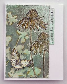 Suzz's Stamping Spot: cone flower card using Tim Holtz, Ranger, Idea-ology, Sizzix and Stamper's Anonymous products; Mar 2015