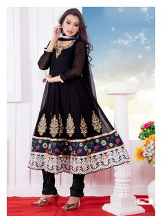 USD 93.48 Black Embroidered Anarkali Suit   38684