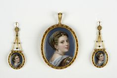 Pendant and earrings set in case (demi-parure), gold, porcelain, paint, glass, silk; 1820-1860, by Moulinie & Legrandroy.  Gift of Goodhue Livingston, 1951.  NYHS Object Number INV.12543a-d.