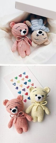 Free teddy bear crochet pattern These free crochet animal patterns can help you to create any animal you want by changing muzzle and ears. The head, body and legs of the amigurumi toys ar Marque-pages Au Crochet, Crochet Mignon, Crochet Gratis, Crochet Motifs, Crochet Bear, Cute Crochet, Crochet Teddy Bear Pattern Free, Free Pattern, Crochet Octopus