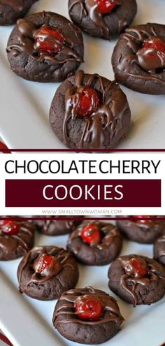 Chocolate Cherry thumbprint cookies perfect for Christmas cookie exchange or as dessert for your holiday parties! This recipe is a soft fudge cookie with a plump sweet maraschino cherry right in the center and then drizzled with a chocolate fudge sauce. Save this pin!