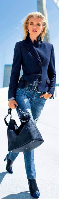 Street style | Denim, ankle booties and chic navy coat. Fall autumn women fashion outfit clothing style apparel @roressclothes closet ideas